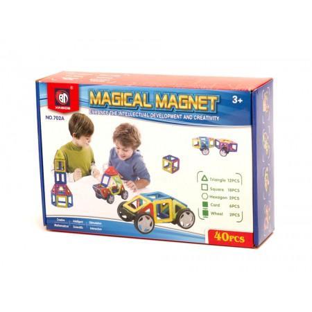 Klocki Magnetyczne MAGICAL MAGNET Kolorowe Panelowe 40 sztuk - VivoSklep.pl