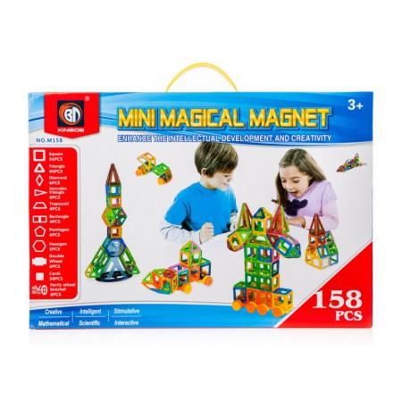 Klocki Magnetyczne MAGICAL MAGNET 158 Sztuk Kolorowe Panelowe - VivoSklep.pl