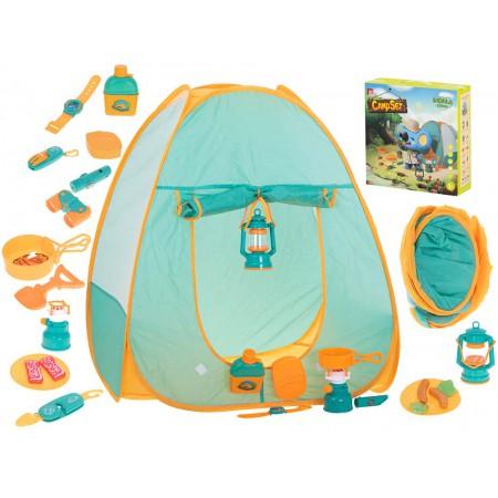 Namiot dla Dzieci Campingowy Piknikowy Ogrodowy z Akcesoriami Zielony - VivoSklep.pl