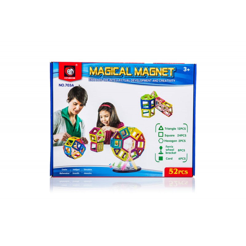 Klocki Magnetyczne MAGICAL MAGNET 52 Elementy Kolorowe - VivoSklep.pl