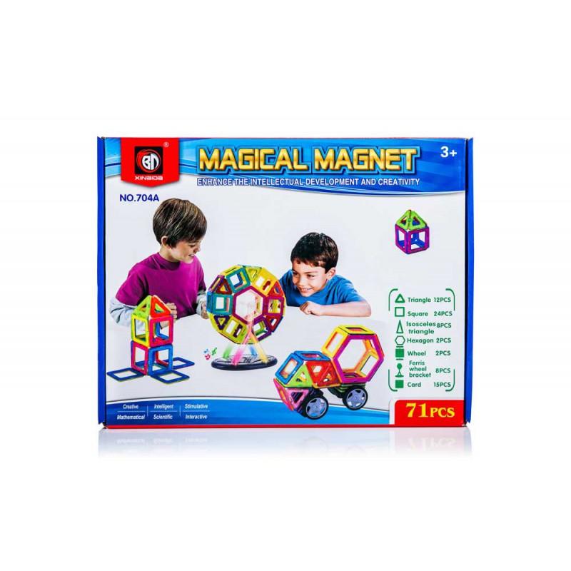 Klocki Magnetyczne MAGICAL MAGNET 71 sztuk Panelowe Kolorowe - VivoSklep.pl
