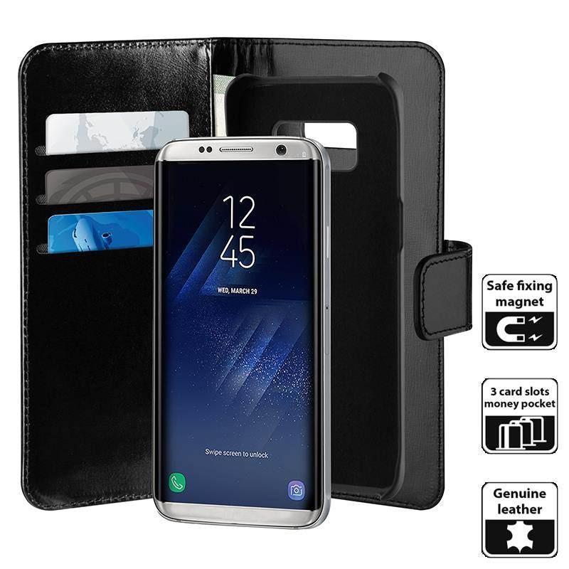 Etui Puro Duetto Wallet Detachable Samsung Galaxy S8 Skórzane 2w1 Czarne z Kieszeniami - VivoSklep.pl