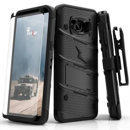 Etui Zizo Bolt Cover Samsung Galaxy S8 Pancerne ze Szkłem 9H Black - VivoSklep.pl