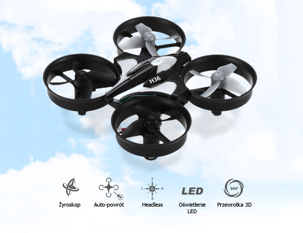 Dron RC JJRC H36 MINI Stabilizator Autopowrót Axis Headless Czarny - VivoSklep.pl 1
