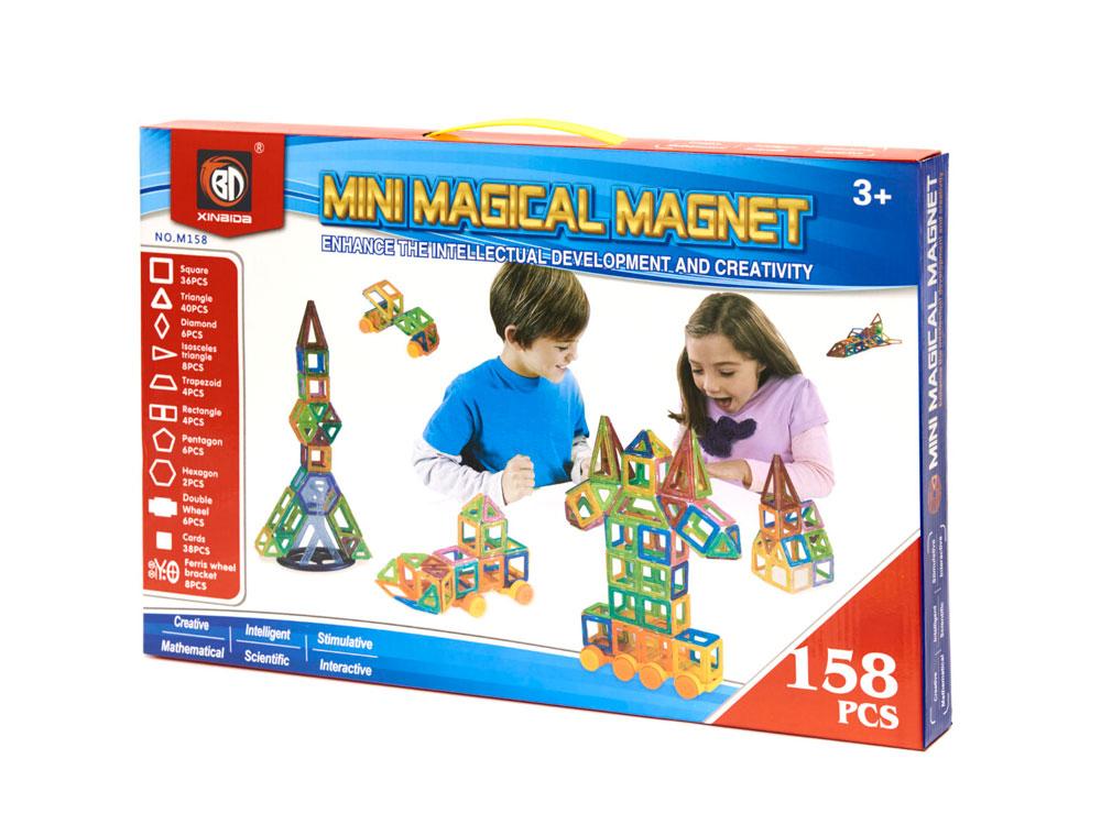 Klocki Magnetyczne MAGICAL MAGNET 158 Sztuk Kolorowe Panelowe - VivoSklep.pl 20