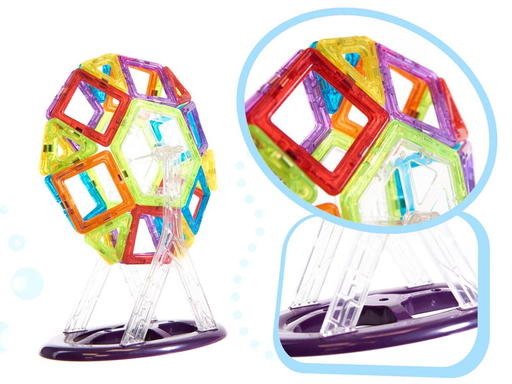 Klocki Magnetyczne MAGICAL MAGNET 158 Sztuk Kolorowe Panelowe - VivoSklep.pl 17