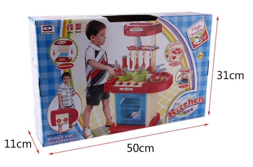 Kuchnia dla Dzieci w Walizce Akcesoria Garnki Sztućce Plastikowa Dźwięki LED – VivoSklep.pl 11