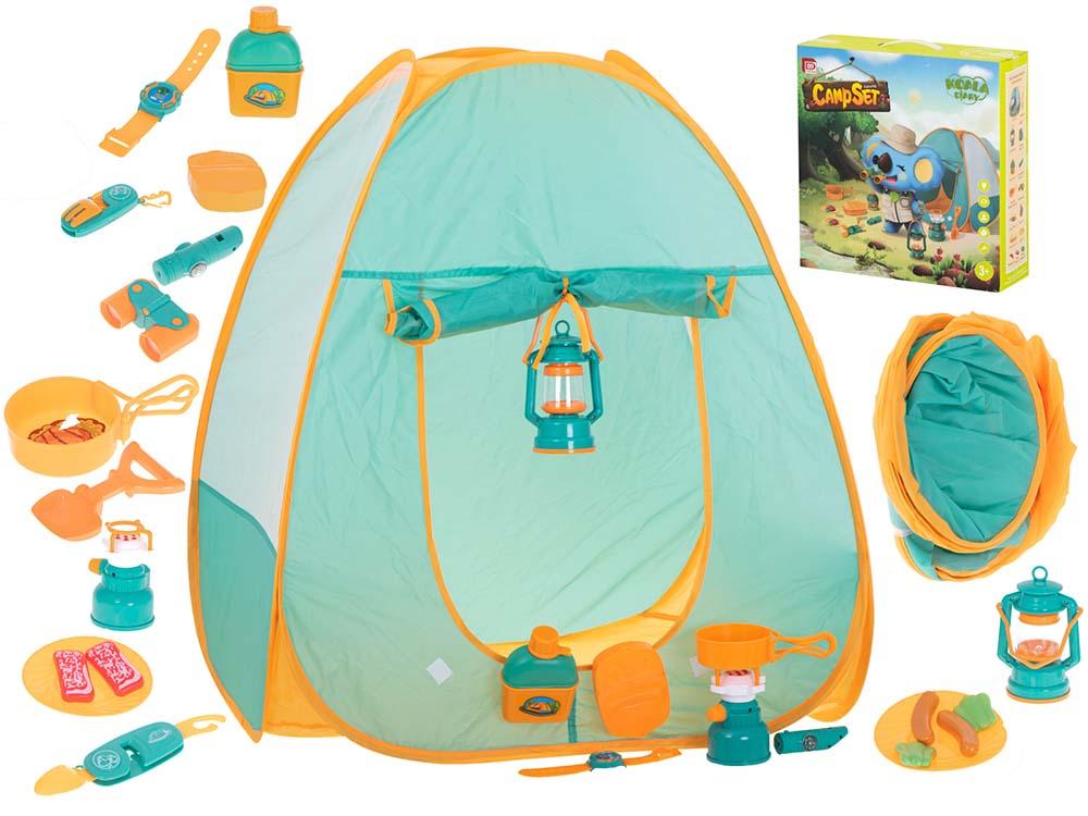 Namiot dla Dzieci Campingowy Piknikowy Ogrodowy z Akcesoriami Zielony - VivoSklep.pl 1