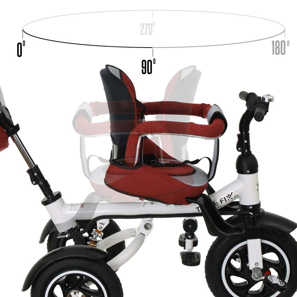 Rowerek TRIKE FIX V3 Trójkołowy Dla Dziecka Spacerówka 2w1 Z Prowadnikiem Czerwony - VivoSklep.pl 8