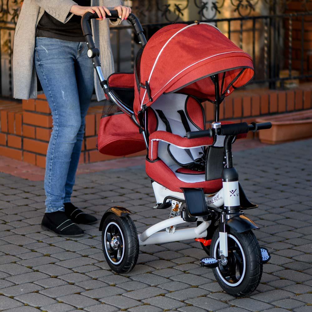 Rowerek TRIKE FIX V3 Trójkołowy Dla Dziecka Spacerówka 2w1 Z Prowadnikiem Czerwony - VivoSklep.pl 1