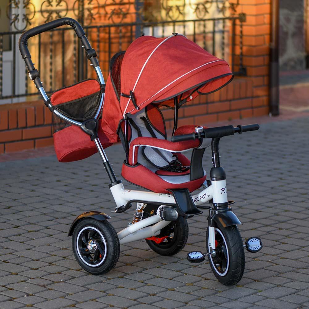 Rowerek TRIKE FIX V3 Trójkołowy Dla Dziecka Spacerówka 2w1 Z Prowadnikiem Czerwony - VivoSklep.pl 23
