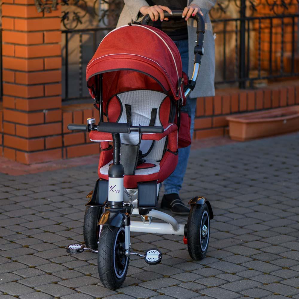 Rowerek TRIKE FIX V3 Trójkołowy Dla Dziecka Spacerówka 2w1 Z Prowadnikiem Czerwony - VivoSklep.pl 12