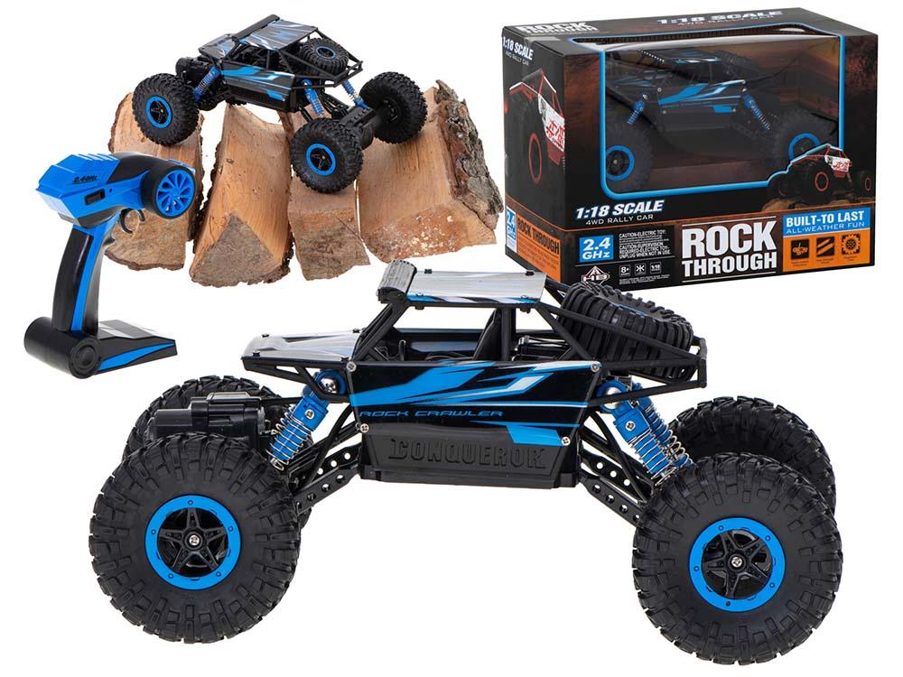 Samochód RC ROCK CRAWLER HB Toys 1:18 Zdalnie Sterowany Dwusilnikowy 2,4Ghz Niebieski - VivoSklep.pl 1