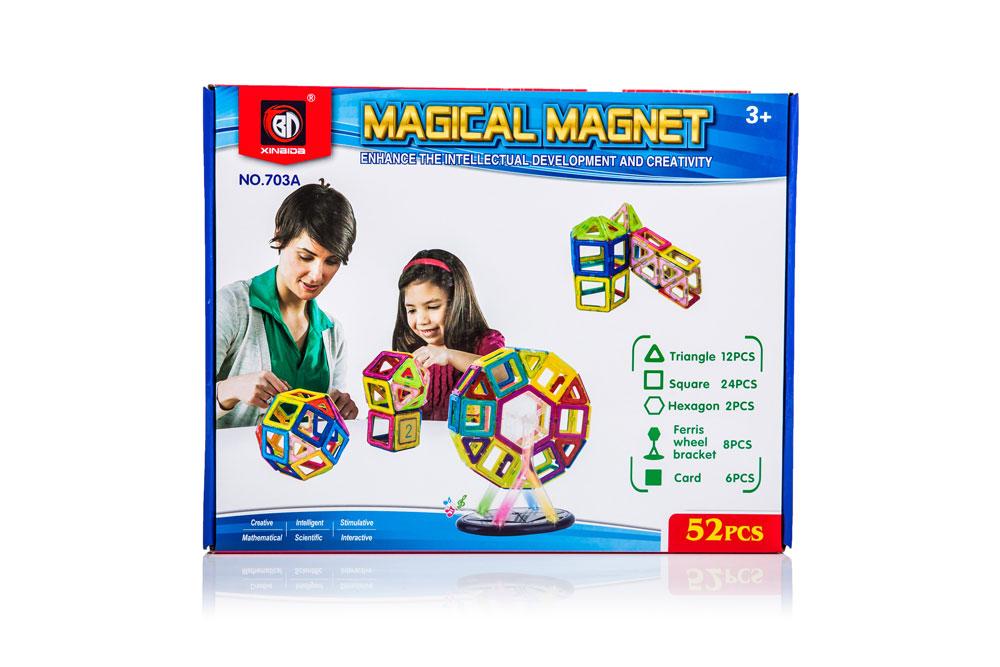 Klocki Magnetyczne MAGICAL MAGNET 52 Elementy Kolorowe - VivoSklep.pl 7