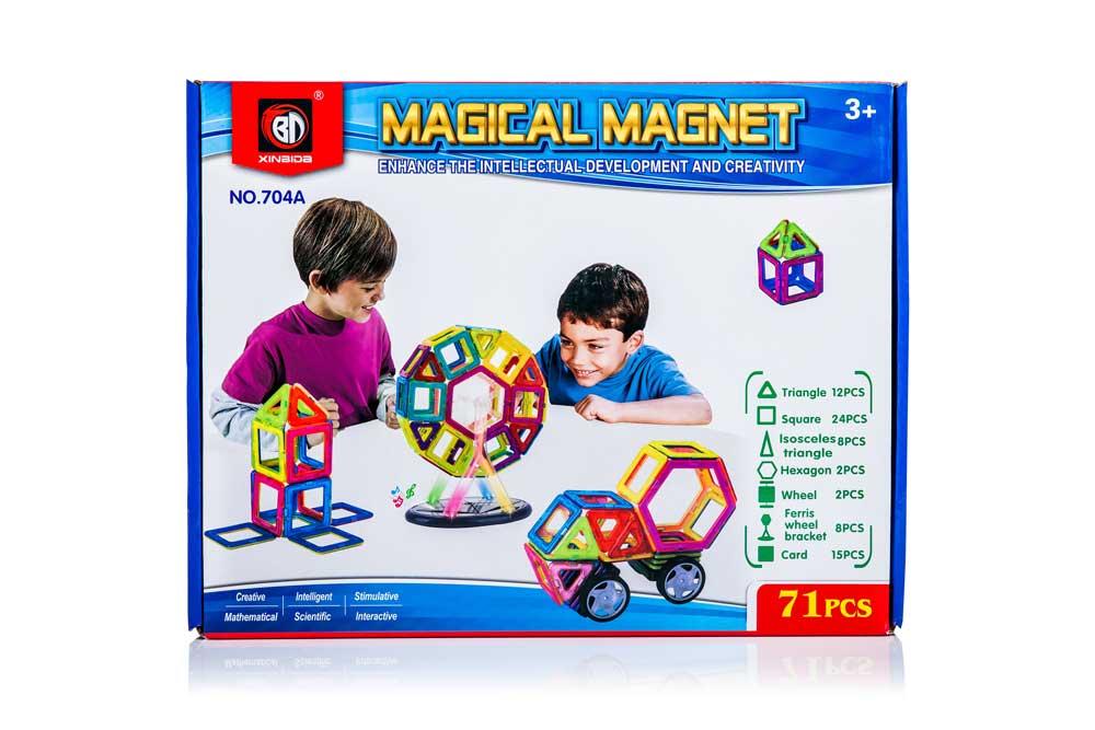 Klocki Magnetyczne MAGICAL MAGNET 71 sztuk Panelowe Kolorowe - VivoSklep.pl 8