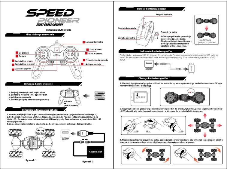 Samochód RC SPEED PIONEER STUNT CAR RACING 360 Dwustronny Sterowany Ręką - VivoSklep.pl 11