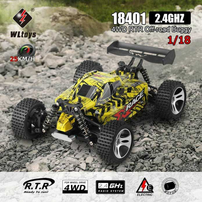 Samochód RC WLtoys 18401 Zdalnie Sterowany 4WD 25km/H Żółty 1:18 - VivoSklep.pl 8